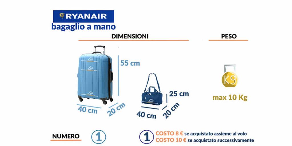 Bagaglio a mano Ryanair regole limiti rimborso smarrimento